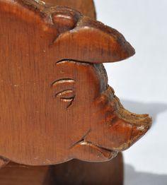 Vintage Hand Carved Wooden Pig Napkin/Letter Holder by Aligras, $7.00