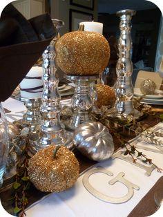 Make DIY Metallic Thanksgiving Table Decor!! {tutorial} -- Tatertots and Jello