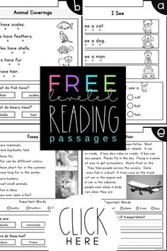 FREE LEVELED READING PASSAGES Kindergarten Second Grade Reading Levels A F Differentiated 6 Kindergarten Level Reading Passages kindergarten level reading passages - There are many reasoned explanat. Leveled Reading Passages, Reading Comprehension Passages, Reading Fluency, Reading Intervention, Kindergarten Reading, Teaching Reading, Comprehension Strategies, Reading Response, Differentiated Kindergarten