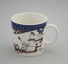Arabia Moomin mug, Christmas Greetings. Design, Tove Jansson - Shopping Place for Friends of Old Antique Dishware - Dishwareheaven.com - Products