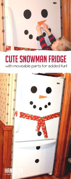 Make a cute snowman fridge with your kids that has moveable parts to make different faces and practice counting! Snow Activities, Outdoor Activities For Kids, Christmas Activities, Toddler Activities, Toddler Preschool, Toddler Crafts, Preschool Activities, Build A Snowman, Cute Snowman