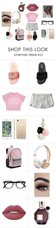 """lazy day😝"" by kiana-thornton ❤ liked on Polyvore featuring Puma, Hollister Co., GUESS, Victoria's Secret, Lime Crime and Viktor & Rolf"