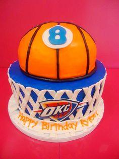 OKC Thunder themed birthday cake! www.bakedinmoore.com