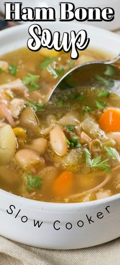 Nov 2019 - Ham Bone Soup (Slow Cooker) is slowly cooked with garlic, potatoes, carrots, celery, corn and beans to give you a comforting soup and use that leftover ham bone! Slow Cooker Beans, Slow Cooker Soup, Slow Cooker Recipes, Crockpot Recipes, Soup Recipes, Cooking Recipes, Fall Recipes, Ham Bone Soup