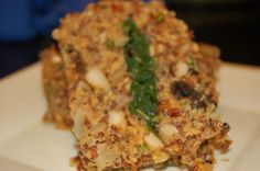QUINOA 104: AMERICAN COMFORT FOOD – QUINOA WILD MUSHROOM SPINACH LOAF WITH CASHEW GRAVY