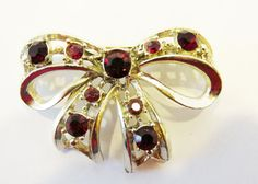 Embellished Vintage 1950s Gold Toned Ruby Red by GildedTrifles