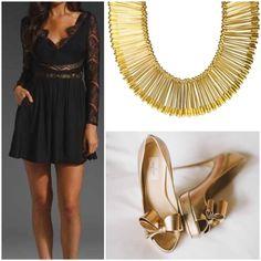1) HK Nǚshén Necklace 2) Gold Heels 3) Little black dress 4) OUT the door! #SimpleyetSignificant #HKStyle www.Hoo-Kong.com