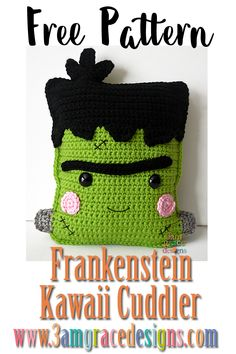 """Frankenstein Kawaii Cuddler™ - Free Crochet Pattern : """"Our free Frankenstein crochet pattern & tutorial makes an adorable amigurumi pillow! This would be perfect decoration for your home halloween decor. Crochet Fall, Holiday Crochet, Crochet Gifts, Halloween Crochet Patterns, Crochet Patterns Amigurumi, Amigurumi Doll, Kawaii Crochet, Cute Crochet, Simple Crochet"""