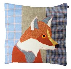 A handcrafted look - Carola van Dyke Fox Cushion from Cotswold Trading, ~inspiration for my freehand embroidery experimentation~ Applique Cushions, Wool Applique, Embroidery Applique, Machine Embroidery, Patchwork Cushion, Fabric Crafts, Sewing Crafts, Sewing Projects, Sewing Ideas