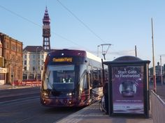 New Bombardier Tram on first day of operation on Fylde Coast, April 4th 2012. North Pier.