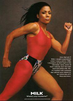 Milk Florence Griffith Joyner 1996 Ad via Flo Jo, Usa Olympics, Summer Olympics, Got Milk Ads, Female Athletes, Women Athletes, Track And Field, Black Is Beautiful, Vintage Ads