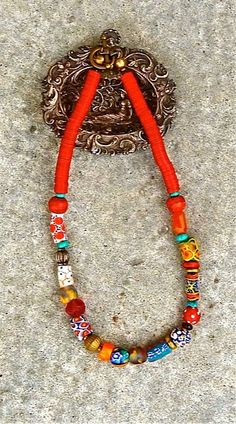African Trade Bead Necklace Tribal Red by TheJoyMoosCollection