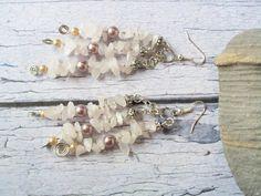 $15.00 Gemstone Cluster Earrings - Snow Quartz & Swarovski Glass Pearls by BlueWorldTreasures.etsy.com Use #discountcode PIN10 for 10% off #ValentinesDayGift #HandmadeinCanada