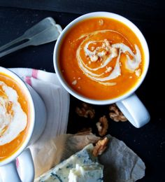 delicious squash, curry and gorgonzola cheese soup