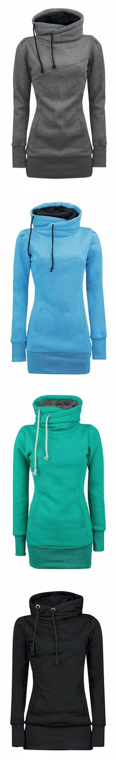 FREE SHIPPING+ womens-solid-turtle-neck-long-sleeve-kangaroo-pocket-sweatshirt