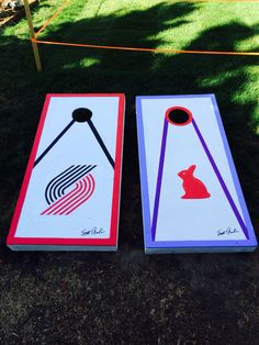My first two corn hole boards I made.Portland Trailblazers and a bunny rabbit.