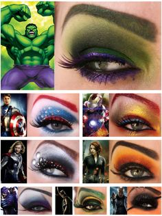 Eye makeup inspired by Marvel characters! Now this is the true work of a superhero.