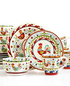 Rooster dishes....charming.