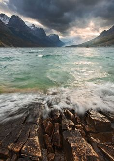 Strong wind and waves batter the shore of St Mary Lake (Glacier National Park, Montana) by Mat Malone