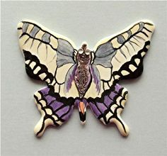 Handpainted by Bernadette Dumont 🇫🇷 on 0104 - Papillon Chikae by Bijoux de Passy Cool Paintings, Creations, Scrap, Enamel, Brooch, Hand Painted, Artist, Accessories, Jewelry