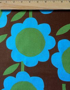 One Yard  Cotton  Fabric  Kokka Japan  Blue  Flower by EtsyFabrics