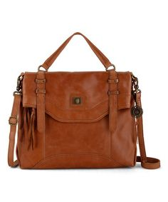 Another great find on #zulily! Tobacco Brown Sycamore Leather Messenger Bag #zulilyfinds