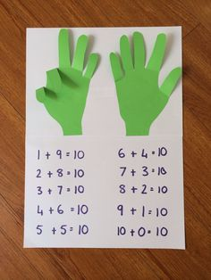 Trace hands, cut out & glue down, except for the fingers. Make sums to 10 & record underneath.