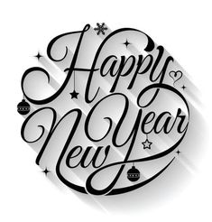 Happy new year typography. Text circle vector by sombatkapan on VectorStock® Happy new year typography. Text circle vector by sombatkapan on VectorStock®