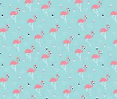 Geometric summer flamingo beach theme in aqua and pink  fabric design by Little Smilemakers Studio // Maaike Boot - Home decor textile inspiration, fashion and wallpaper