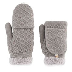 Women's SONOMA Goods for Life Speckled Cable Knit Flip-Top Mittens, Grey