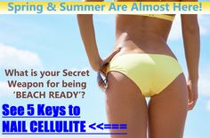 """Keys to Nail Cellulite"""" - Be Ready for Spring & Summer Without Cellulite. Reduce Cellulite, Beach Ready, Body Fitness, Cute Makeup, I Work Out, Female Bodies, Body Care, Hair Bows, Keys"""