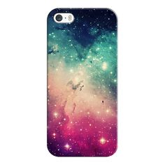 Pink Turquoise Blue Colorful Space Galaxy Nebula Stars Photo - iPhone... ($35) ❤ liked on Polyvore featuring accessories, tech accessories, iphone case, pink iphone case, iphone cases, slim iphone case, apple iphone case and galaxy iphone case