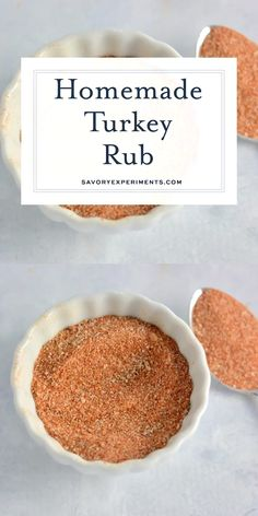 Homemade Turkey Rub Homemade Turkey Rub,Savory Experiments Recipes Homemade Turkey Rub is a blend of 6 easy spices and herbs to make for a flavorful and delicious roast turkey! Use it on chicken, beef. Homemade Spices, Homemade Seasonings, Best Turkey Rub Recipe, Sweet Bbq Rub Recipe, Turkey Leg Recipes, Rib Recipes, Easy Recipes, Smoked Turkey Rub, Dry Rub For Turkey