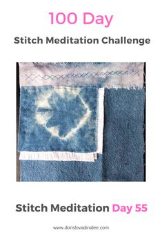 The 100 Day stitch Meditation Challenge Day Metallic dyed linen, indigo cotton and white linen in this square. running and cross stitchs to hold it all together. Meditation, 100th Day, Hand Stitching, Indigo, Metallic, Challenges, Running, Cotton, Racing