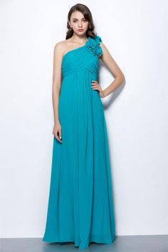 custom turquoise chiffon one shoulder empire a line bridesmaid dress