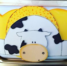Pote de sorvete... reciclagem... aplique de vaca em eva!
