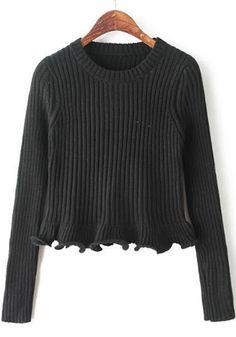 Black Plain Ruffle Pullover