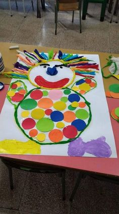Clown, crafts - Crafts for Teens Clown Crafts, Circus Crafts, Carnival Crafts, Fun Crafts For Kids, Preschool Crafts, Art For Kids, Diy And Crafts, Arts And Crafts, 2d Shapes Activities