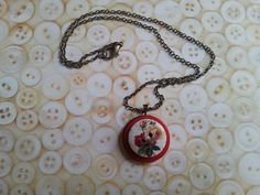 red rose floral layered handmade button necklace by maxollieandme, £7.00