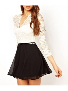 Lace Splice V Neck A Line Dress...I would make it less skimpy at the top with longer skirt