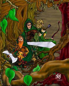 Aragorn, Legolas & Gimli on the Edges of Fagorn Forest by Kerry Nash