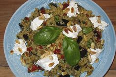 Bulgur salad with grilled summer vegetables, pine nuts and creamy goat cheese (yummy veggie!)