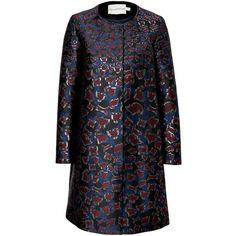 Mary Katrantzou Silk Blend Jacquard A-Line Coat (75.860 RUB) ❤ liked on Polyvore featuring outerwear, coats, multicolor, animal print coat, long sleeve coat, print coat, black coat en mary katrantzou