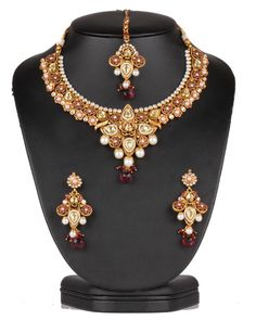 Authentic fashion gold plated Imitation Pearls,Ruby and Clear Polki set-0625PLKP13  http://www.craftandjewel.com/servlet/the-1893/Authentic-fashion-gold-plated/Detail