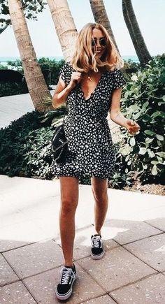 e100da2ae67a Pretty black and white print dress with black and white sneakers. Dress  With Sneakers