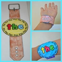 The Moffatt Girls: Wearable Sight Word Watches! What a FUN way to learn sight words.wear them all day:) @ BQ they stole your idea! Teaching Sight Words, Sight Word Games, Sight Word Activities, Literacy Activities, Kindergarten Language Arts, Kindergarten Literacy, Preschool, Teaching Reading, Guided Reading