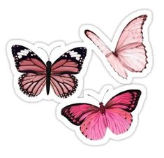 Blue Butterfly Discover Pink Butterfly stickers aesthetic Sticker by EmmaGSheehan Stickers Cool, Bubble Stickers, Printable Stickers, Laptop Stickers, Journal Stickers, Planner Stickers, Roses Tumblr, Papillon Rose, Homemade Stickers