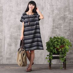 Women summer casual stripe cotton linen dress