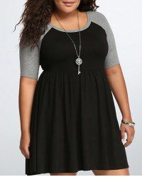 Color Block Plus Size Casual Scoop Neck Half Sleeves Dress For Women (AS THE PICTURE,XL) | Sammydress.com Mobile