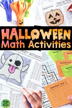 Love the fun resources for middle school or high school math practice during October. Check out the engaging activities working operating with integers, transformations, simplifying algebraic expressions, order of operations, scientific notation, and more. Great for 6th, 7th, 8th grade math, Algebra 1, and Geometry. Halloween Math, Halloween Activities, Holiday Activities, Fun Math Activities, Math Resources, Middle School, High School, Math Crafts, Order Of Operations